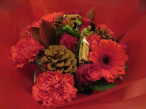 christmas bouquet gift in the wrapping