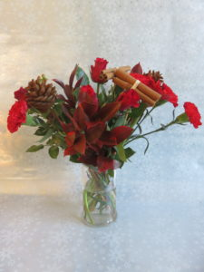 Christmas bouquet gift in vase