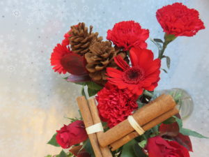 Christmas bouquet gift view of cinnamon sticks