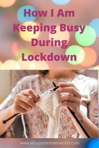 Lady knitting with white yarn during lockdown