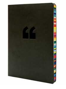 black notebook with rainbow edges