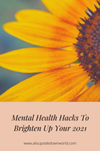 Mental health hacks Pinterest title page with a sunflower background