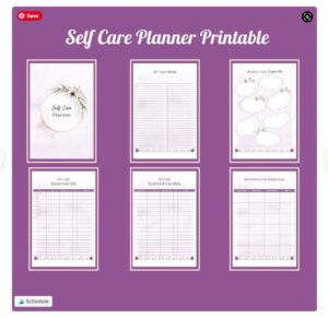 page examples of a printable self-care planner for Mother's Day