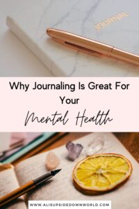 Journaling for mental health Pinterest Pin image
