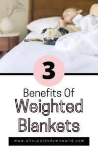dog lying on bed is the background for the pin title image benefits of weighted blankets
